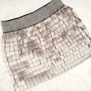 Sparkly Metallic Layered Banded Mini Skirt